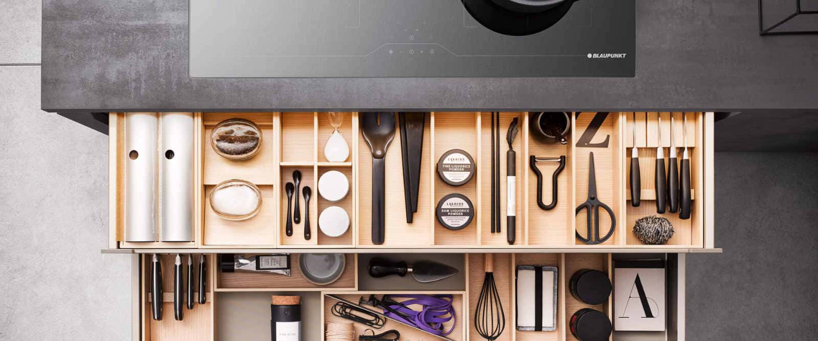 open cutlery kitchen drawer