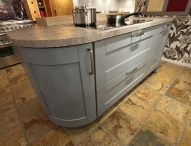 cooker island with plinth lighting